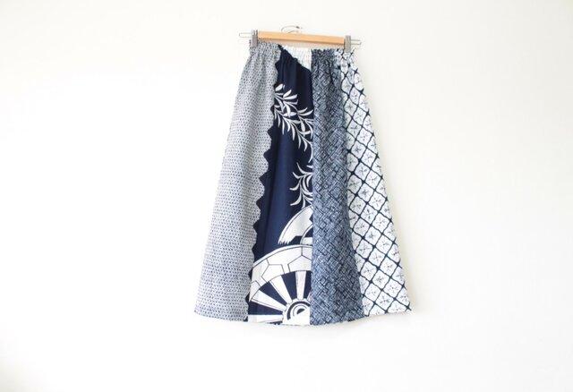 ☆浴衣ミディロングスカート☆ パッチワーク8枚♪/31ys06の画像1枚目