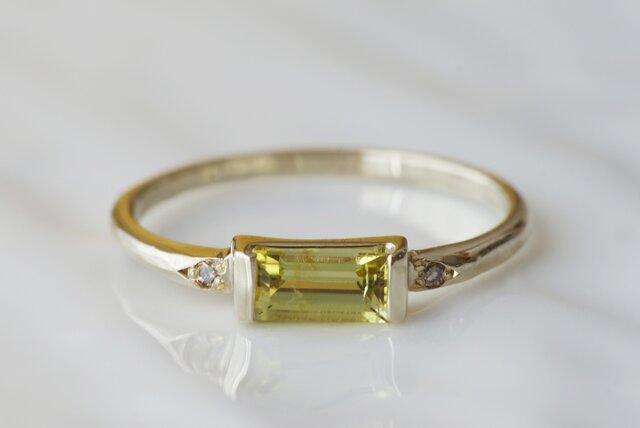 K10製 イエロートルマリンとブラウンダイヤモンドのリングの画像1枚目