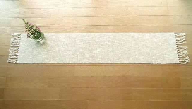 麻綿混の手織りテーブルセンター(1)の画像1枚目