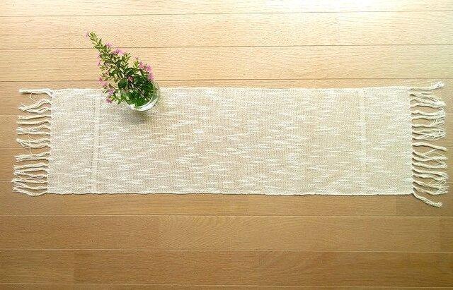 麻綿混の手織りテーブルセンター(3)の画像1枚目