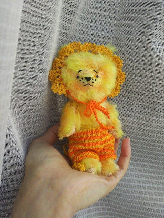 ハンドメイド*モヘアの子ライオン*ボネと毛糸パンツ付き*(検索)テディベア*の画像1枚目