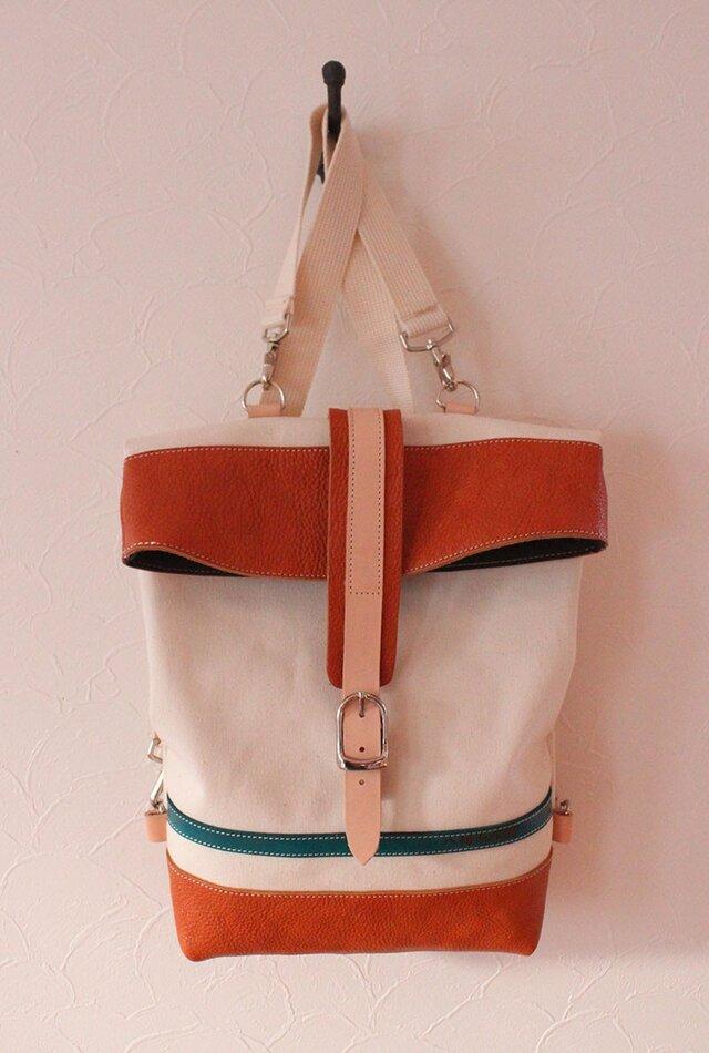革と帆布のリュック ミドルサイズ ブルーラインの画像1枚目
