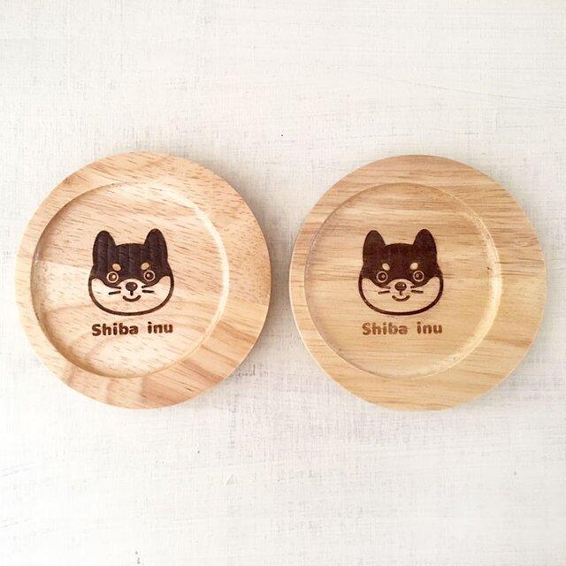 【2mai set】柴犬のカフェコースター ・・丸型木製コースターの画像1枚目