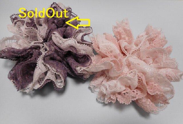 紫SoldOut☆2色レースのふわふわシュシュM(白P・白紫)の画像1枚目
