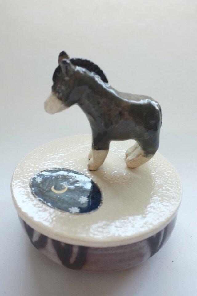 陶ハコ「池に映る月とロバ」の画像1枚目