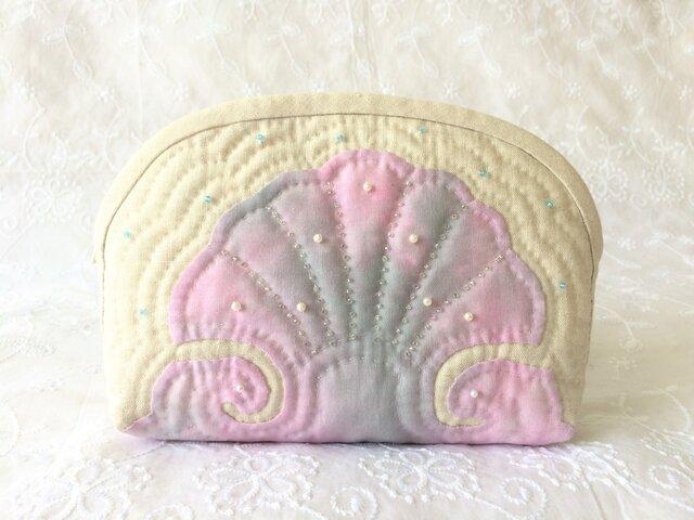 *母の日に*手縫い手縫いハワイアンキルトポーチ リネンshellの画像1枚目
