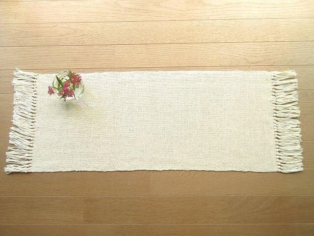 麻糸と木綿糸の手織りテーブルセンターの画像1枚目
