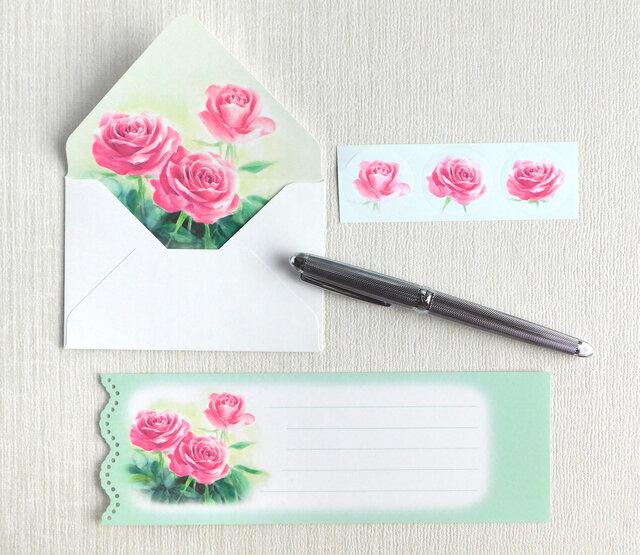バラのミニ封筒&メッセージカード(内模様)の画像1枚目