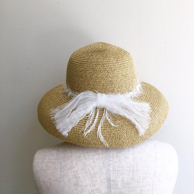夏の帽子 ワッシャーオーガンジーリボンの画像1枚目