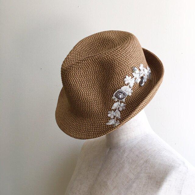 夏の帽子 シルバーレースとビジューの画像1枚目