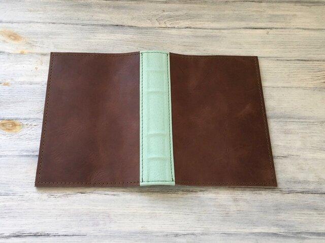【オーダー品】洋古書風のブック・ブックカバー/ブラウン×リーフグリーンの画像1枚目