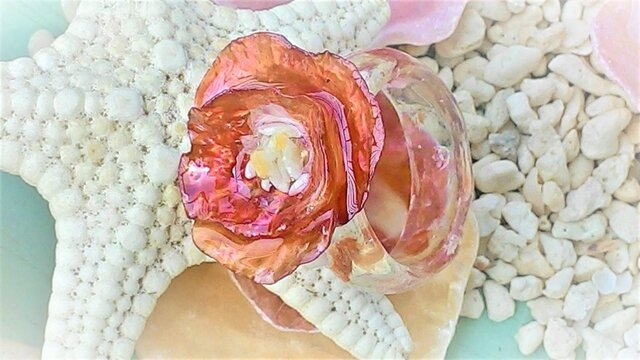 【sale】ナミマガシワとヒトデ殻のお花のリング(赤)の画像1枚目