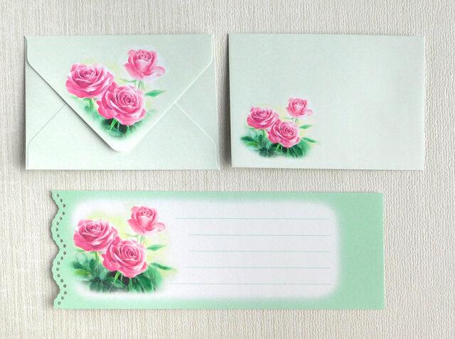 バラのミニ封筒&メッセージカード(外模様)の画像1枚目