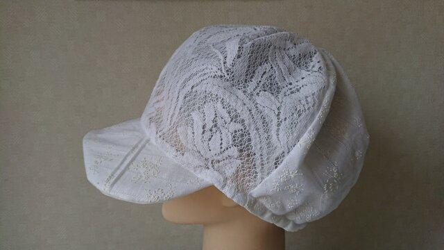魅せる帽子☆軽くて涼しい!レースが素敵♪リバーシブルキャスケット~ホワイトの画像1枚目