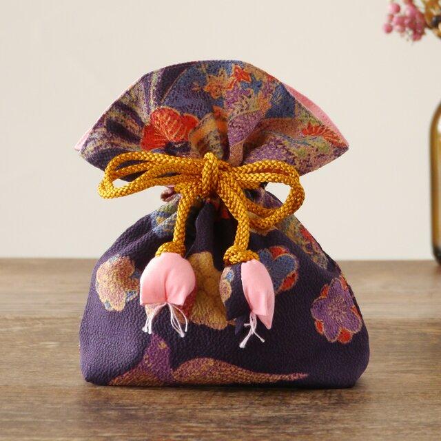 【贈答用】幸せ巾着 FUGURO プレミアム<菊文・絹>の画像1枚目