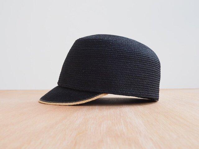 Raffia Cap - black × naturalの画像1枚目