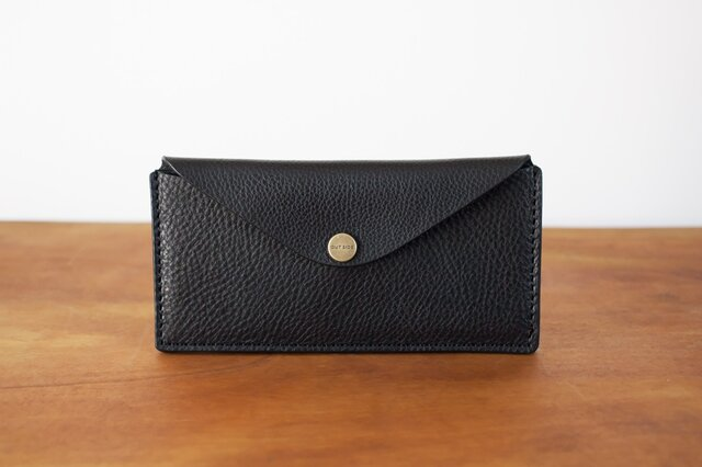 イタリア製牛革のスリムな長財布 2 / ブラック※受注製作の画像1枚目