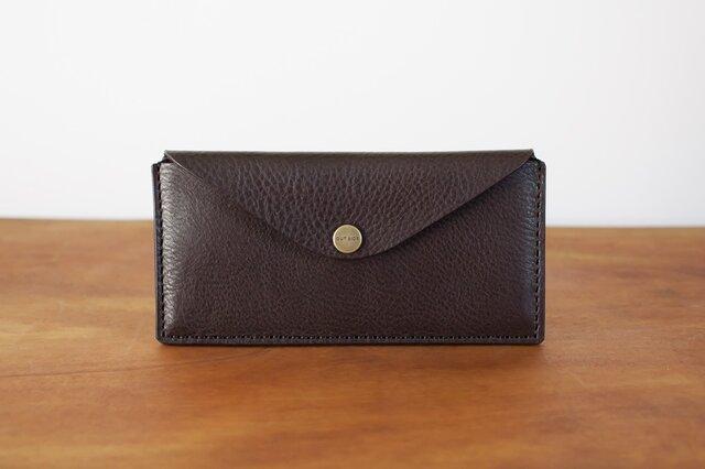 イタリア製牛革のスリムな長財布 2 / チョコ※受注製作の画像1枚目