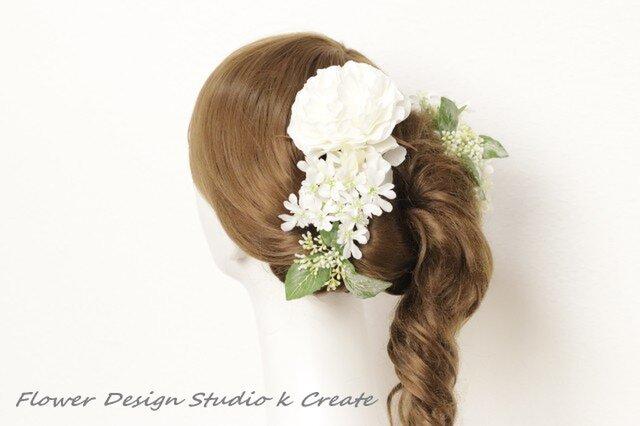 清楚な白い薔薇とレースフラワーのヘッドドレス(9点セット) ウェディング 白 ホワイト バラ 紫陽花 清楚 結婚式の画像1枚目
