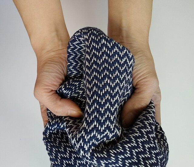男前♪手織りハンカチ 汗しっかり吸収してくれるコットンハンカチ ブルーの画像1枚目