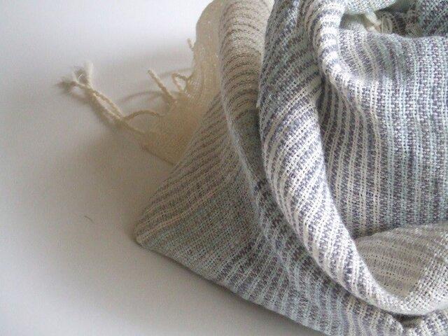 「Mさまご依頼品」手織り横しましまストールの画像1枚目