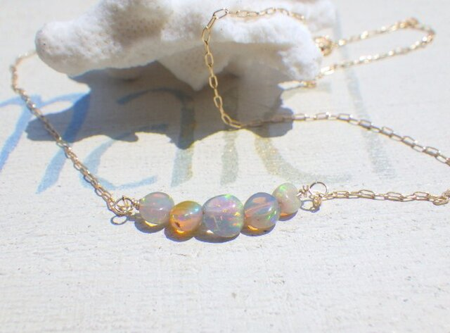 Simply Opal Necklace 14kgfの画像1枚目