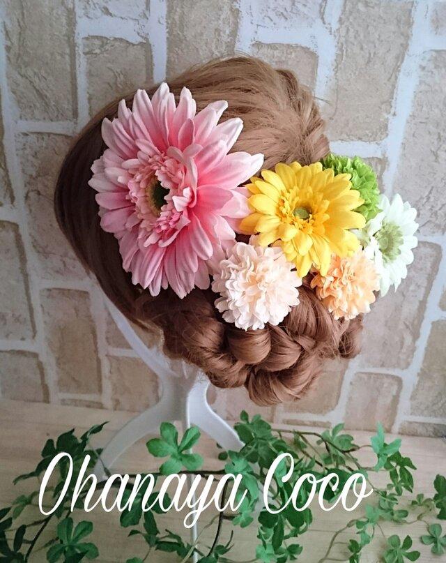 春色ガーベラとマムの髪飾り6点Set No224の画像1枚目