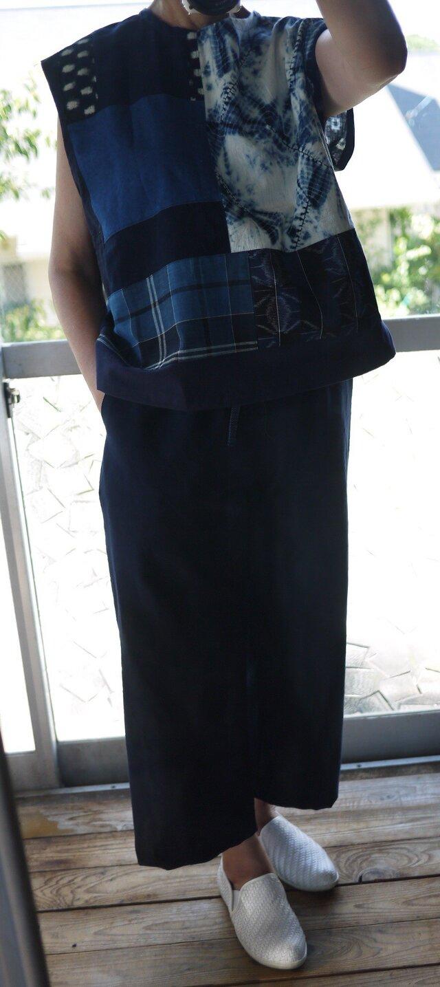 久留米絣反物2種からシンプルパンツの画像1枚目