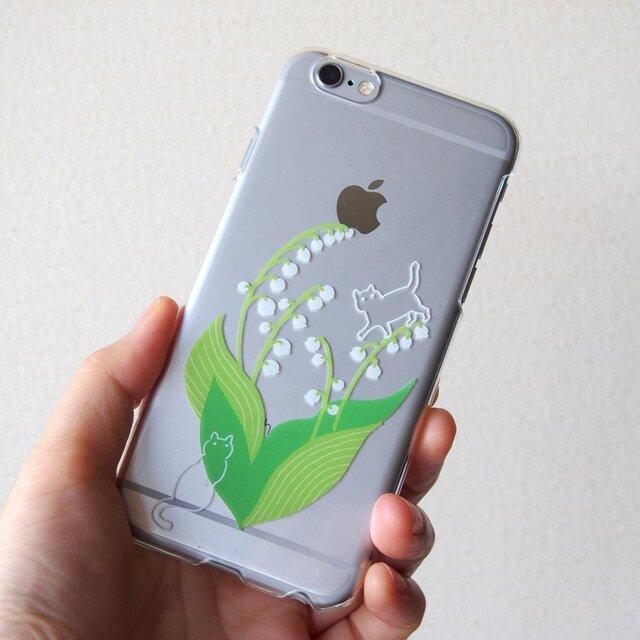 iPhone系ハードクリアケース【鈴蘭と猫】の画像1枚目