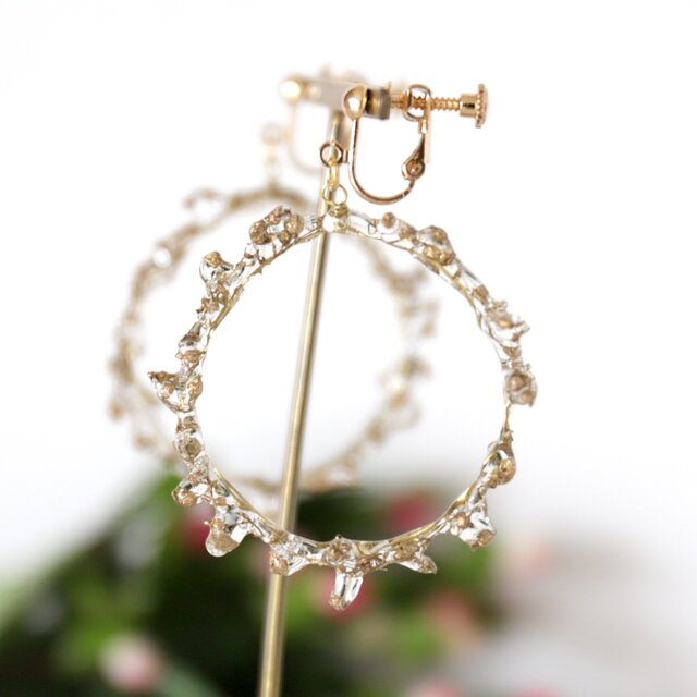 crown of baby's breath -gold-(イヤリング) #358の画像1枚目