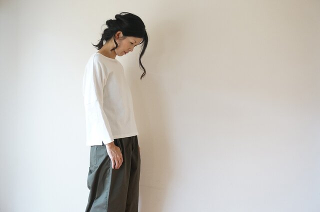 Cotton drop shoulder cut-sew LADY'S WHITEの画像1枚目