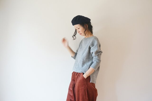 Cotton wool drop shoulder knit LADY'S GRAYの画像1枚目