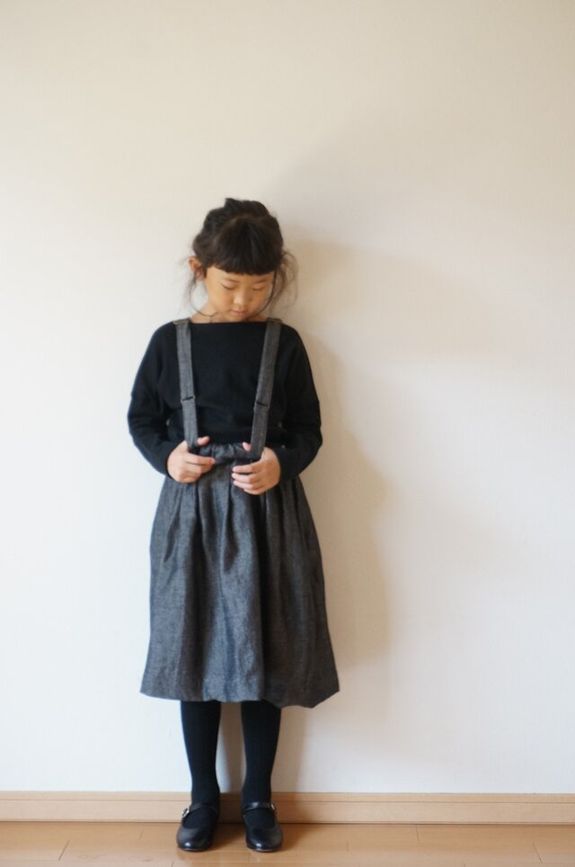+sample+ Wool linen dungaree tuck skirt 120sizeの画像1枚目