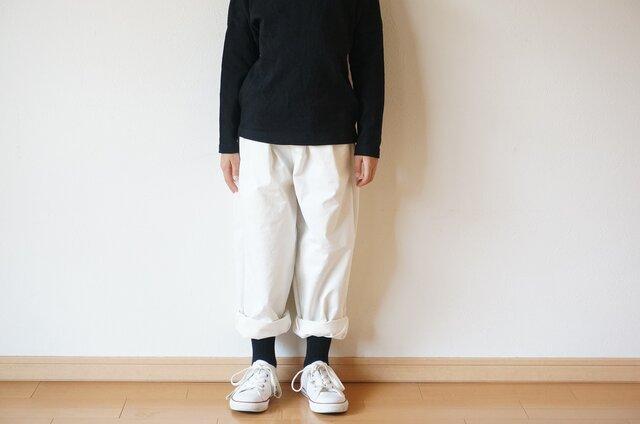 Cotton chino stretch tuck pants kids 2sizeの画像1枚目
