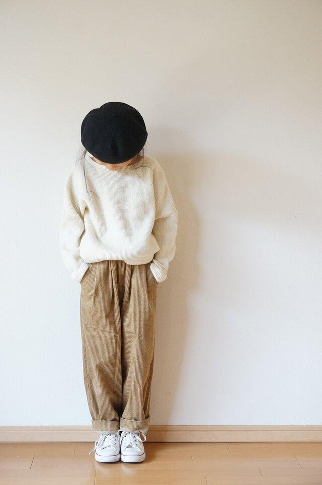 Stretch corduroy tuck pants kids 1,2sizeの画像1枚目