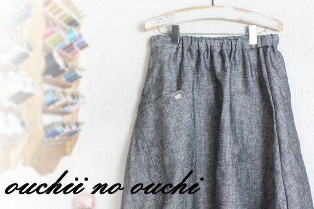 miko様オーダー分 しっとりリネン100♡ふんわりバルーンスカート♪ダンガリーブラックの画像1枚目