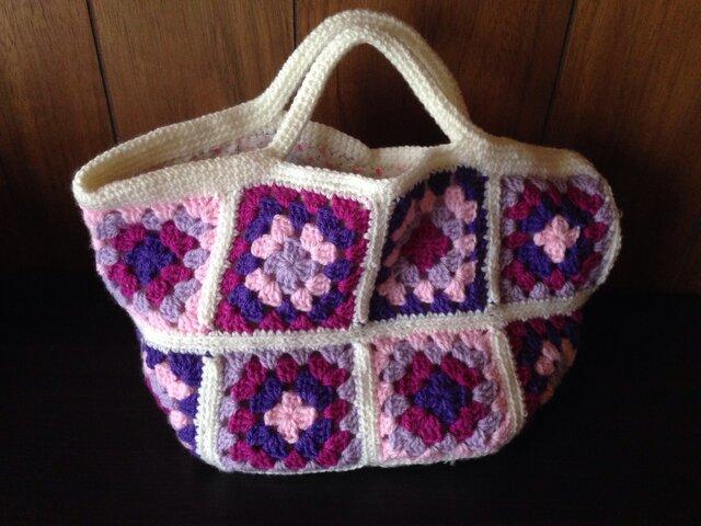カラフル手編みトートバッグの画像1枚目