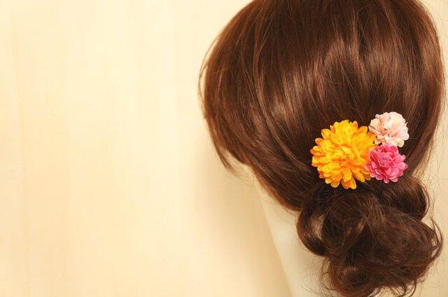 オレンジ×ピンクのヘアアクセ Uピン3個セットの画像1枚目