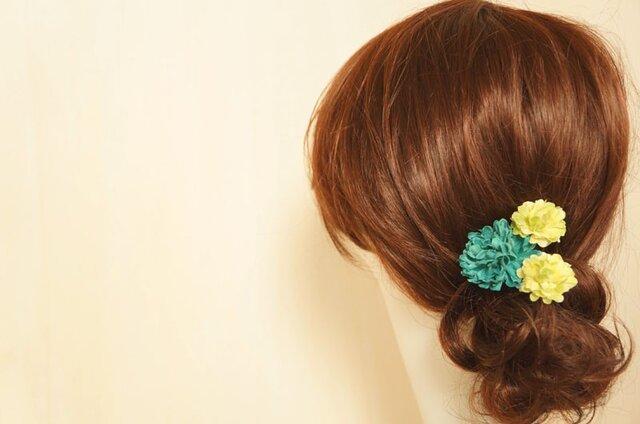 ブルーグリーンのヘアアクセ Uピン3個セットの画像1枚目