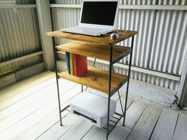 【新作】 アイアン ウッド スタンディングデスク(オフィス 店舗 リビング用PCデスク)の画像1枚目