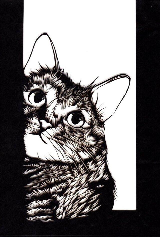 額装済み切り絵作品・猫の画像1枚目