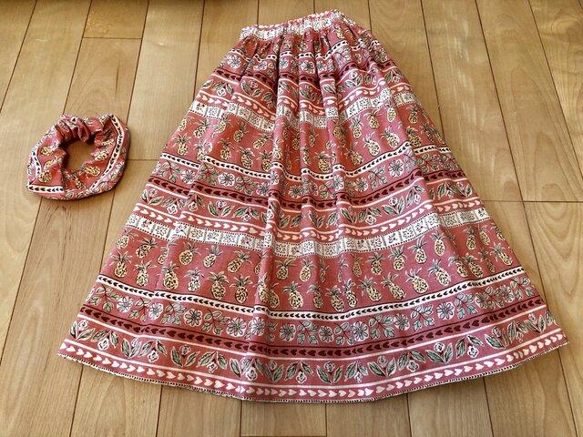 【sale】パイナップル繊維入りギャザースカート(ピンクロング)の画像1枚目