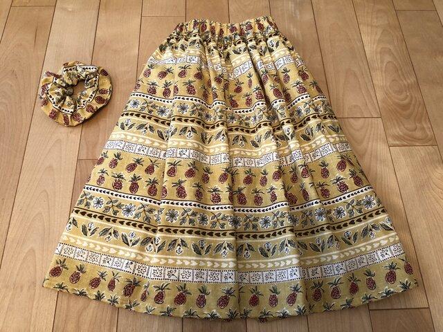 【sale】パイナップル繊維入りギャザースカート(マスタードロング)の画像1枚目