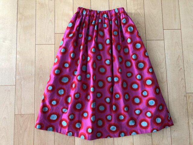 【大SALE】表・裏 綿100% グレーぼかしドットスカート(ピンク地)の画像1枚目