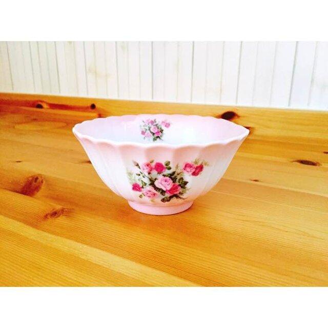 陶器 薔薇のご飯茶碗ピンク茶わん ローズ食器ボール和食器の画像1枚目