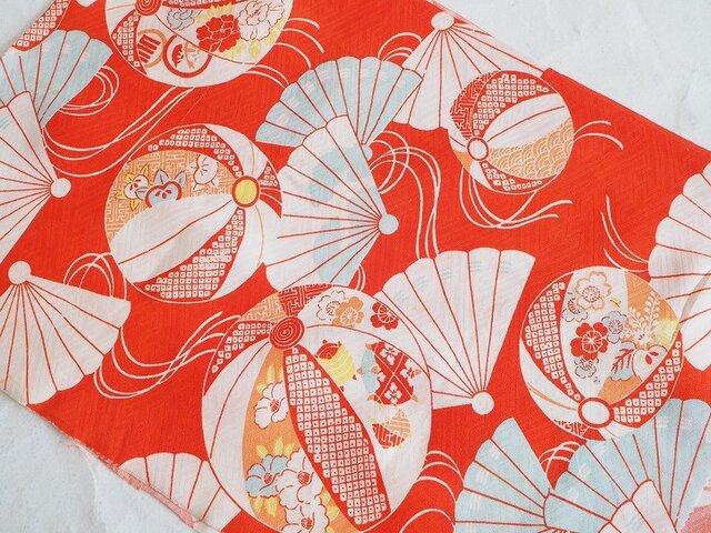 s0038 毬扇子紋様ハギレ・120cm☆古布・古裂/絞り/錦紗縮緬/正絹/人絹/モスリンの画像1枚目