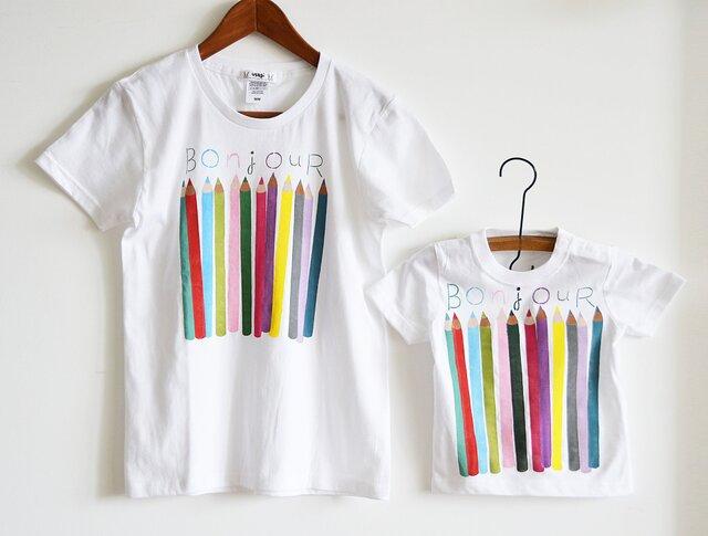 """親子お揃いTシャツセット""""色えんぴつ"""" Tシャツ ベーシックタイプ 親子おそろいコーデ ホワイトの画像1枚目"""