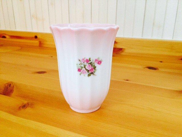 陶器 薔薇のフリーカップ ローズピンク和食器 ペン立て 箸立ての画像1枚目