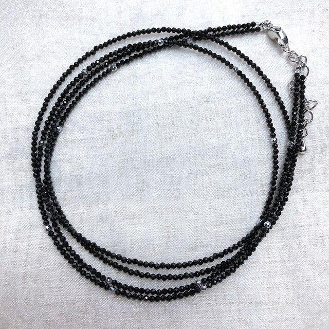 SALE ブラックスピネッル 2連ネックレス 57cm アジャスター機能付き 金属アレルギー非対応の画像1枚目
