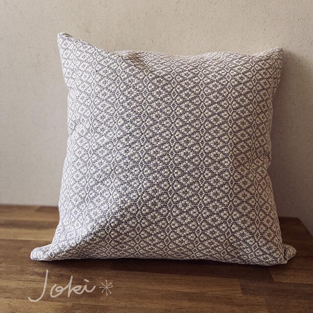[再販]cushion cover[手織りクッションカバー] グレーの画像1枚目